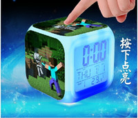 Wholesale Christmas gift Minecraft Design alarm clock Minecraft Creeper clock LED Color Change Digital Alarm Clock Night Colorful Changing toy H452