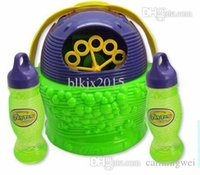 Cheap Wholesale-2015 New Design Basket-Type Electronic Automatic Bubble Machine, Plastic Bubble Blower Soap Bubbles Baby Toy Free Shipping