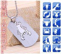 aquarius free - Newest Hot sales zodiac necklace stainless steel constellation Gemini Aquarius Leo pendant necklace