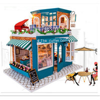 Wholesale Long Time No See Wooden Doll House with Furniture Handmade DIY Dollhouse Kit Assembling Toy The Coffee Cabin