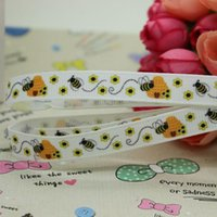 bee bow - 3 quot mm Popular Honey Busy Bees Printed Grosgrain Ribbon for Bows Crafts Decorations Yards