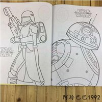 Wholesale 100Lot CCA3279 Star Wars Colouring Book Star Wars The Force Awakens Sticker Coloring Book Darth Vader R2D2 Stormtrooper Yoda Coloring Book