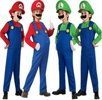 beard hat for kids - 5 Piece Children Super Mario Brothers Masquerade Costume cosplay for kids costumes kit with Hat Beard Glove Size S M L