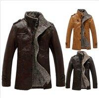 mens trench coat - Fashion Mens Winter Jacket Leather Coat Fur Parka Fleece Jacket Trench Slim Coat DH04