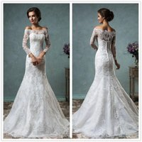 Wholesale Sexy Fashion Mermaid Wedding Dress Bateau Neck Sleeve Appliques Lace Sweep Train Tulle Wedding Gown White Ivory Custom