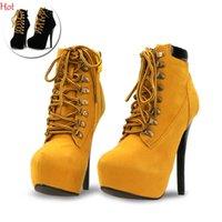 Cheap Plus 2016 Top Fashion Women Boots High Heels Ankle Boots Platform Pump Shoes Lace-up Design Women Shoes Autumn Casual Lace Up Boots SV026992