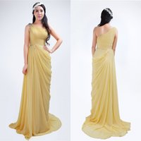 Cheap Charming Light Yellow Ruched Chiffon Evening Dresses 2015 Unique Real Image Pick-ups Prom Party Gowns Plus Size Maternity Formal Gown