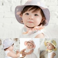 Wholesale Top Selling For Infant Sun Cap Polka Dot Summer Outdoor Baby Girl Sun Beach Bucket Hat