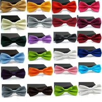 Wholesale New Fashion Adjustable Women Men s Black White Red Multi Solid Color Bow Tie Bowties For Wedding Party Gift