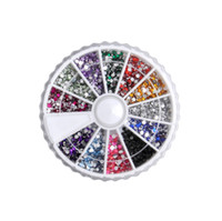 Wholesale Colors Nail Art Glitter Nail Dust Powder Crystal Rhinestones Round Case For UV GEL Acrylic Powder Decoration Tips
