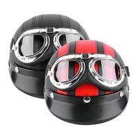 Wholesale Men Women Motorcycle Helmet Open Face Bike Bicycle Helmet Scooter Half Leather Helmet with Visor Goggles Retro cm hot sale