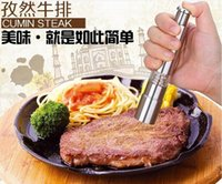 Wholesale High Quality Silvery Thumb Push Salt Stainless Steel Pepper Grinder Spice Sauce Mills Grind Stick Tool Kitchen Gadgets