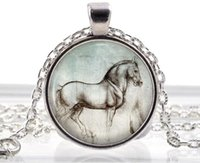 animal necklaces - Silver Jewelry Leonardo da Vinci Horse Necklace Pendant Animal Art Drawing