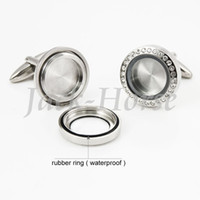 Wholesale Newest Open Waterproof Locket Cufflinks Stainless Steel Crystal Cufflinks High Quality