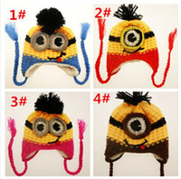 baby boy knitted hat - 40pcs hot sale Despicable Me beanies caps hats color baby minion Crochet hat beanie knits handmade beanies for christmas gift D407