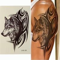Wholesale Brand New Fashion Wolf Head Waterproof Nontoxic Temporary Tattoo Body Arm Leg Art Sticker Removable x cm