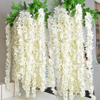 artificial flower bouquet - 1 Meter Long Elegant Artificial Silk Flower Wisteria Vine Rattan For Wedding Centerpieces Decorations Bouquet Garland Home Ornament Dhyz