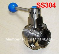 Wholesale 1 inch SS304 Sanitary clamp butterfly valve for food industry Stainless steel butterfly valve SS