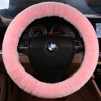 automobile steering wheel covers - 2016 Pure Wool Plush Steering Wheel Cover Woolen Car Accessory Car Steering Wheel Cover Automobile Decoration for Lady38CM