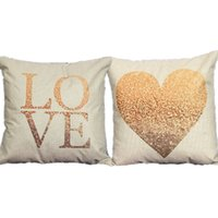 Wholesale 1PCS Cotton Linen Color Printing Gold Love Heart Couples Lovers Cushion Cover Side Printing Home Decorative Throw Pillows Cover