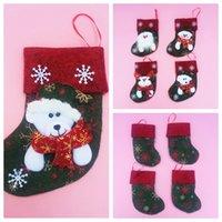 bear bag hanging - New Arrival Mini Christmas Gift Candy Socks Christmas Tree Hanging Decoration Santa Lovely Sockings Santa Milu Bear Bags Socks