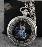 Wholesale Cool Evil Dragon Quartz ENAMEL Painting Pocket Watch Steampunk Clock Necklace
