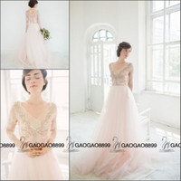 beautiful beach pictures - 2016 Beautiful Cotton Candy Lace Tulle Long Sleeve Wedding Dresses V neck Elegant Beach Country Cheap Wedding Bridal Gowns