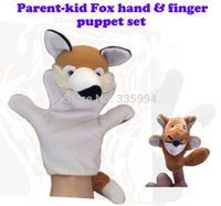 Cheap Wholesale-2pcs lot, Baby Plush Toy  Finger Puppets Tell Story Props(Small Fox + Big Fox) Animal Doll  Kids Toys  Children Gift
