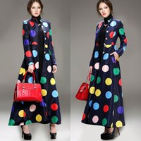 Cheap Wholesale-Autumn New Polka Dot Coat Fashion Women Winter Trench Coat Overcoat Outerwear Full Skirt Ultra Long Dress Coat Jacket W085