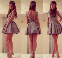 Cheap High Quality 2015 New Party Dresses Beaded Grey Lace Short Prom Cocktail Dress Party Sexy Backless Homecoming Dress Cheap