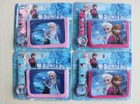 analog set - Frozen Lovely kids Cute Princess Anna Elsa Cartoon Watch and forzen Wallet Children Watch WristWatch High Quality set
