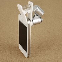 Wholesale 60X Universal Mobile Phone Mini Portable Clip LED Microscope Magnifier Loupe UV Currency Detector Flashlight Magnifying Glass order lt no tr