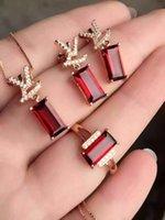 La nueva joyería elegante del granate de la plata de la plata esterlina 925 de la nueva colección alta fija, venta al por mayor del granate de la piedra preciosa de la piedra preciosa natural