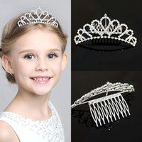 Wholesale Girls Tank Flower Pearl Princess Dresses With Crown Hairpins Summer Children Girls Rose Ruffle Tutu Dress Kids Tulle Party Dressy Red