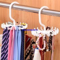 Wholesale New White Degree Rotating Hook Neck Ties Scarf Organizer Men Tie Rack Hanger Holder
