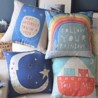 moon chair - Cartoon Cute fresh Rainbow Moon Ikea cotton linen burlap decorative throw pillows cushions covers case for a couch sofas chair