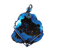Wholesale Fashion Statement wure wrapped blue hollow agate pendant bag