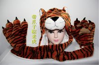 animal hat paws - New Fashion winter animal hat even paw gloves syncretic plush hat tiger Hats Scarves Gloves Sets child Unisex