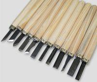 Wholesale 12Pcs Wood Handle Carving Chisels Tool Kit DIY Modeling Seal Sculpt Handy Tools Set order lt no track