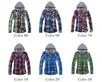 Wholesale Men s Fashion Designer Mens Hooded Plaid Shirt Slim Fit Men Clothing Autumn Spring Long Sleeve Cotton Casual Shirts