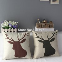 """Cheap Wholesale-17"""" Square Vintage Cartoon Deer Head Bed Home Decorative Cotton Linen Throw Pillow Case Cover High Quality"""