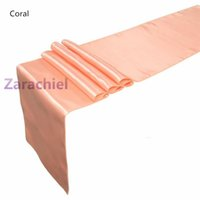Wholesale Price Coral Satin Table Runner Wedding Cloth Runners for Holiday Favor Party TA5986