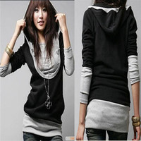 Wholesale New Hot Women Female Girls Students Large U neck Long sleeved Hooded Sweater Two piece Jacket Stitching Tops Clothes