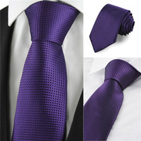 men's ties - New Plaid Checked Purple JACQUARD Fashion Men s Tie Suit Necktie Formal Casual Business Wedding Party Holiday Groom Valentines Gift Tie