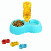 Cheap New Dual Port Dog Utensils Bowl Cat Drinking Fountain Food Dish Pet Bowl Automatic Water Dispenser Feeder Free Shipping 1pcs