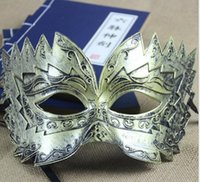 antique carved face - 2015 new men antique mask dance party mask Halloween mask carved imitation metal sawtooth JIA359