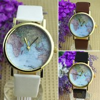 gift items - Hot Sale christmas gifts Retro World Map Watch Fashion Leather Alloy Women Casual Analog Quartz Wrist Watch items
