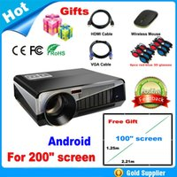 white/black lcd projector hd - Free gift inches screen fabric lumens Android Projector Full HD LED Daytime Projector LCD D Wifi smart projector Proyector