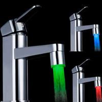 Wholesale 10 pieces LED Temperature Control Faucet Sensor Sink Tap RGB colors water glow tap led faucet light bath led faucet spout