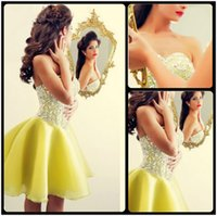 beaded corsage - 2016 Said Mhamad Lemon Prom Dresses Crystal Beaded Bling Bling Corsage A Line Mini Formal Party Homecoming Gowns Custom Made